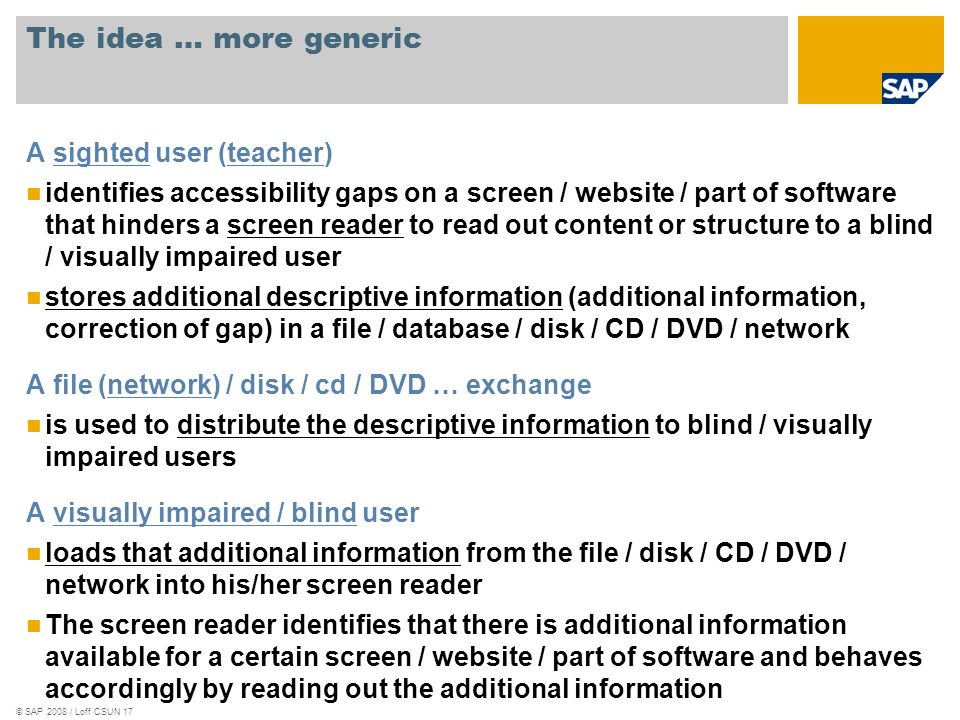© SAP 2008 / Loff CSUN 17 The idea … more generic A sighted user (teacher) identifies accessibility gaps on a screen / website / part of software that