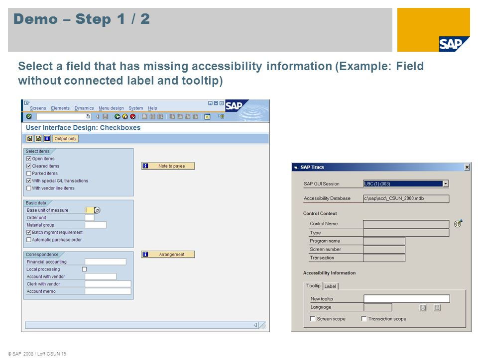 © SAP 2008 / Loff CSUN 19 Demo – Step 1 / 2 Select a field that has missing accessibility information (Example: Field without connected label and tool