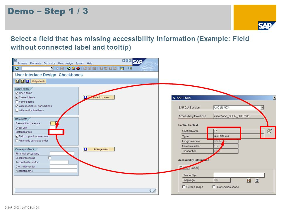 © SAP 2008 / Loff CSUN 20 Demo – Step 1 / 3 Select a field that has missing accessibility information (Example: Field without connected label and tool