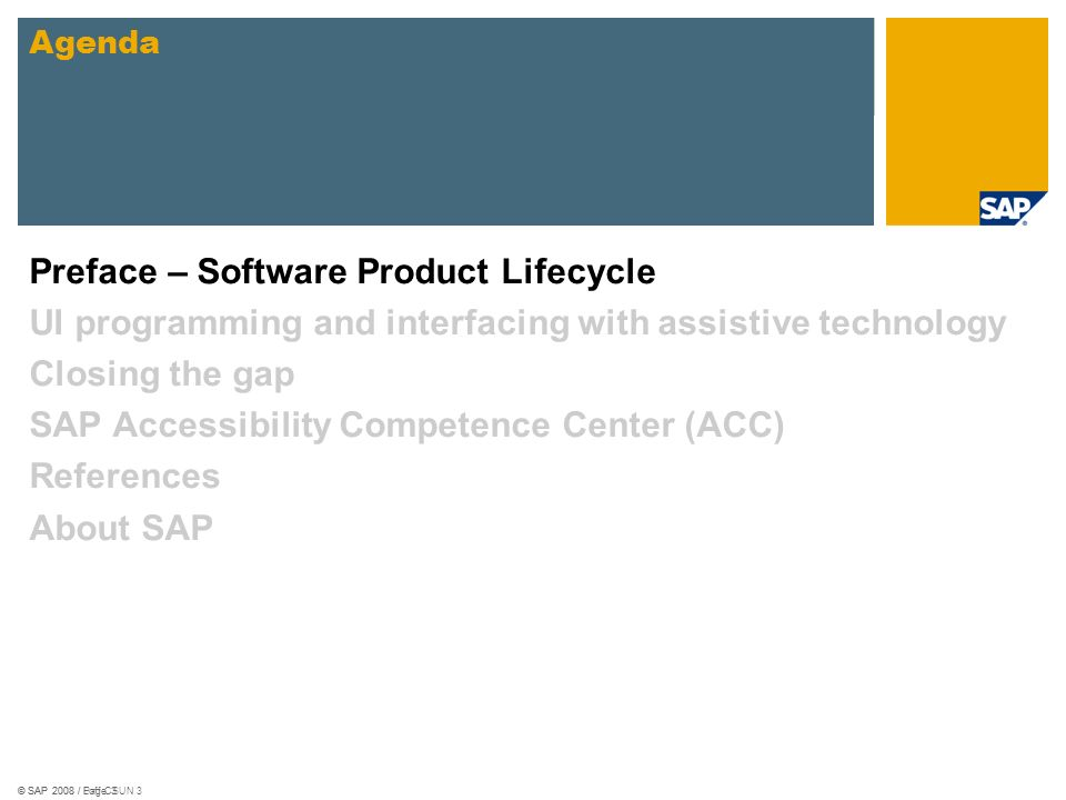 © SAP 2008 / Loff CSUN 14 Linking JAWS/Virgo with SAP GUI Glue Code SAP GUI Object Model Script Plug-In Screen reader
