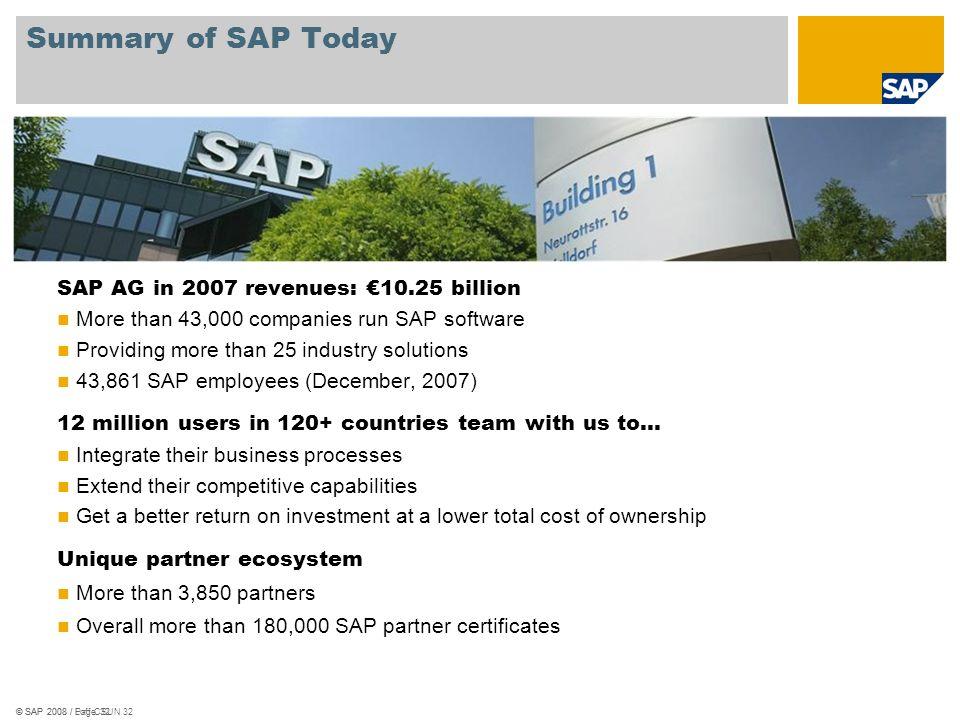 © SAP 2008 / Loff CSUN 32 Summary of SAP Today © SAP 2008 / Page 32 SAP AG in 2007 revenues: 10.25 billion More than 43,000 companies run SAP software