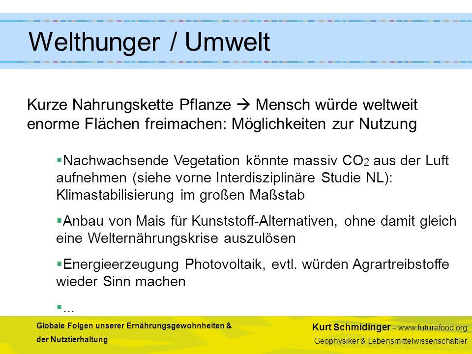 Kurt Schmidinger – www.futurefood.org Geophysiker & Lebensmittelwissenschaftler Globale Folgen unserer Ernährungsgewohnheiten & der Nutztierhaltung Ku