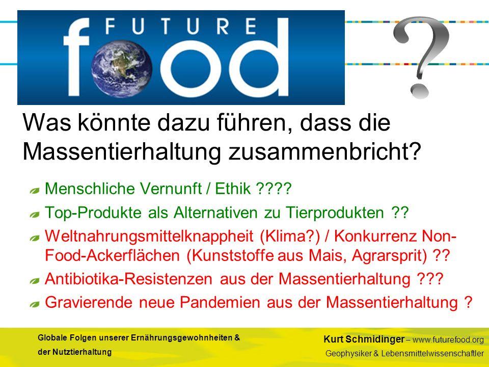 Kurt Schmidinger – www.futurefood.org Geophysiker & Lebensmittelwissenschaftler Globale Folgen unserer Ernährungsgewohnheiten & der Nutztierhaltung Me