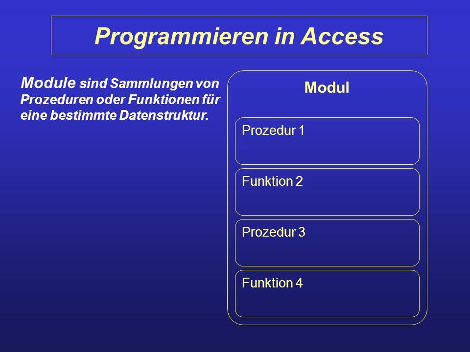 Programmieren in Access Modul Prozedur 1 Funktion 2 Prozedur 3 Funktion 4 Module sind Sammlungen von Prozeduren oder Funktionen für eine bestimmte Dat