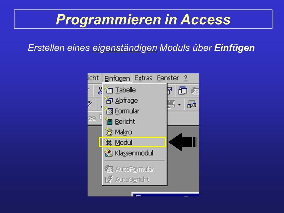 Programmieren in Access Erstellen eines eigenständigen Moduls über Einfügen
