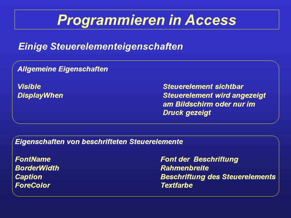 Programmieren in Access Einige Steuerelementeigenschaften Allgemeine Eigenschaften VisibleSteuerelement sichtbar DisplayWhenSteuerelement wird angezei