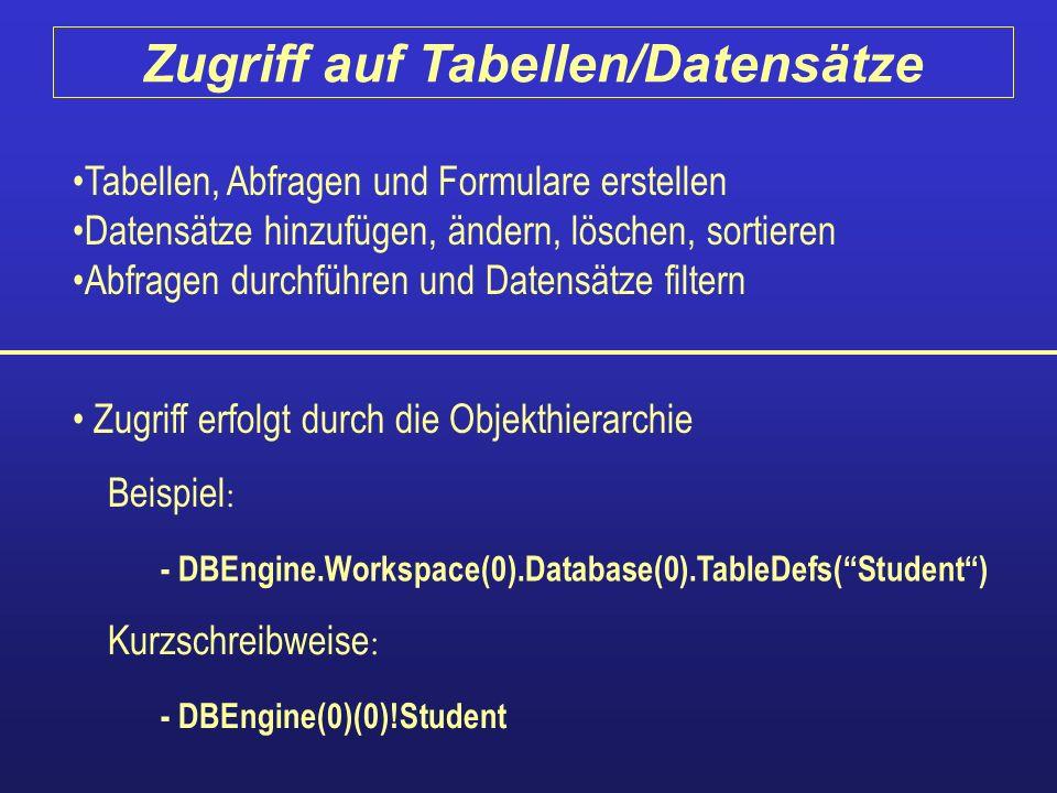Tabellen, Abfragen und Formulare erstellen Datensätze hinzufügen, ändern, löschen, sortieren Abfragen durchführen und Datensätze filtern Zugriff erfol