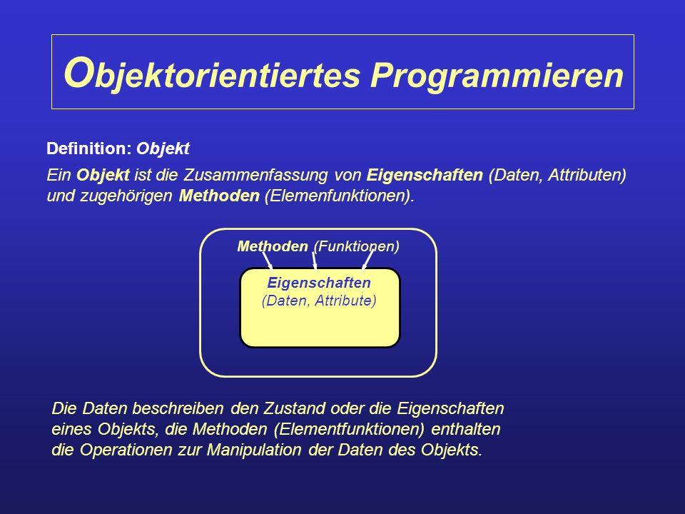 O bjektorientiertes Programmieren Definition: Objekt Ein Objekt ist die Zusammenfassung von Eigenschaften (Daten, Attributen) und zugehörigen Methoden