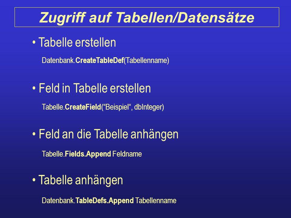 Tabelle erstellen Feld in Tabelle erstellen Feld an die Tabelle anhängen Tabelle anhängen Tabelle. CreateField (Beispiel, dbInteger) Datenbank. Create