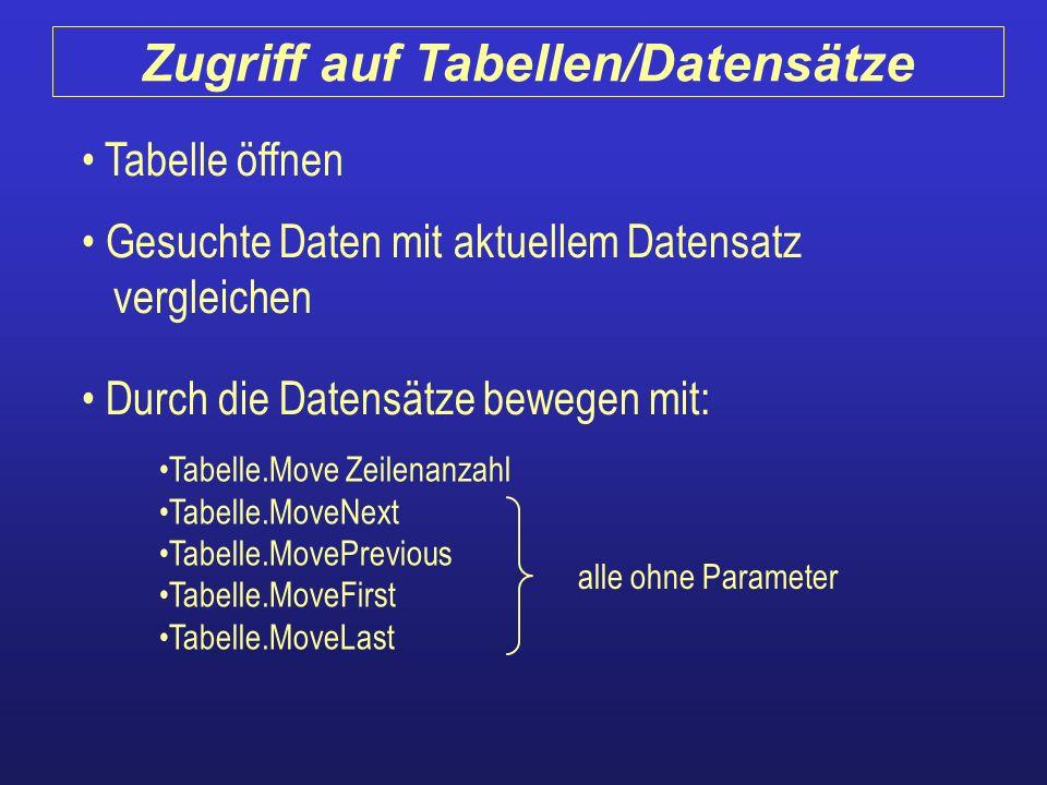 Tabelle öffnen Gesuchte Daten mit aktuellem Datensatz vergleichen Durch die Datensätze bewegen mit: Tabelle.Move Zeilenanzahl Tabelle.MoveNext Tabelle
