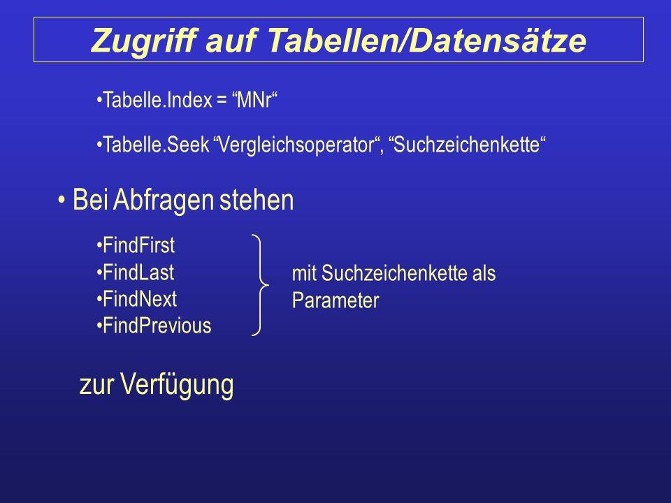 Tabelle.Index = MNr Tabelle.Seek Vergleichsoperator, Suchzeichenkette Bei Abfragen stehen FindFirst FindLast FindNext FindPrevious zur Verfügung mit S