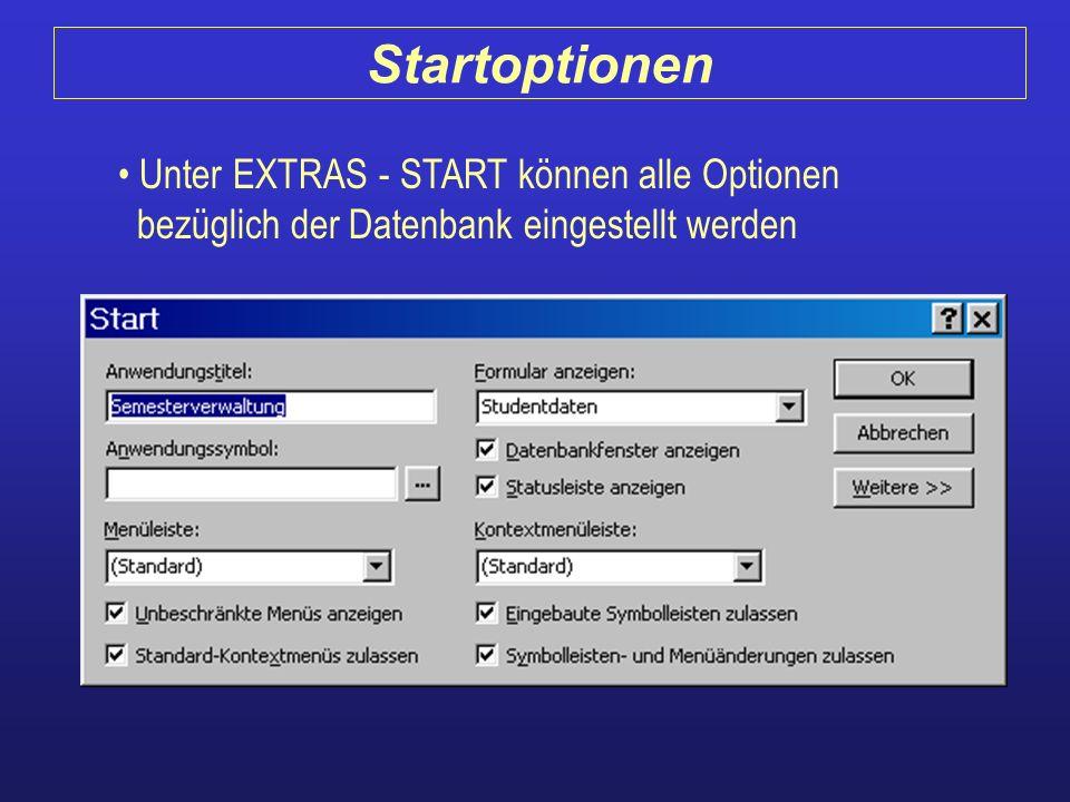 Unter EXTRAS - START können alle Optionen bezüglich der Datenbank eingestellt werden Startoptionen