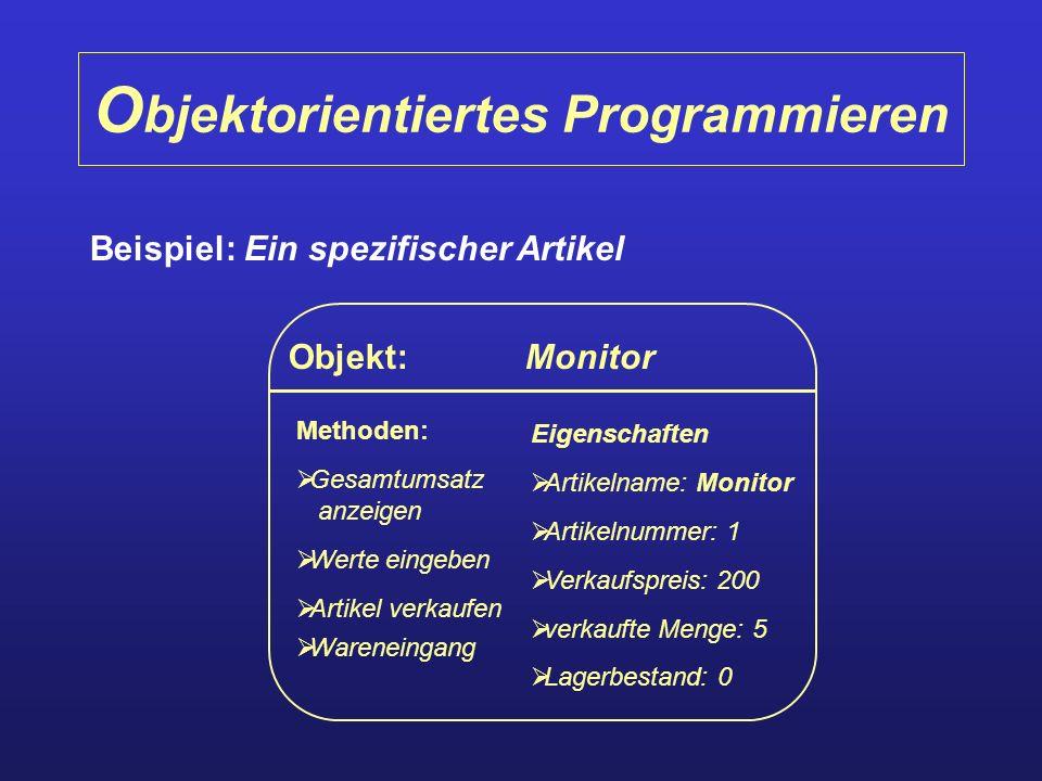 O bjektorientiertes Programmieren Beispiel: Ein spezifischer Artikel Objekt: Monitor Methoden: Gesamtumsatz anzeigen Werte eingeben Artikel verkaufen