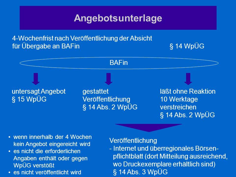 Angebotsunterlage 4-Wochenfrist nach Veröffentlichung der Absicht für Übergabe an BAFin § 14 WpÜG Veröffentlichung - Internet und überregionales Börse