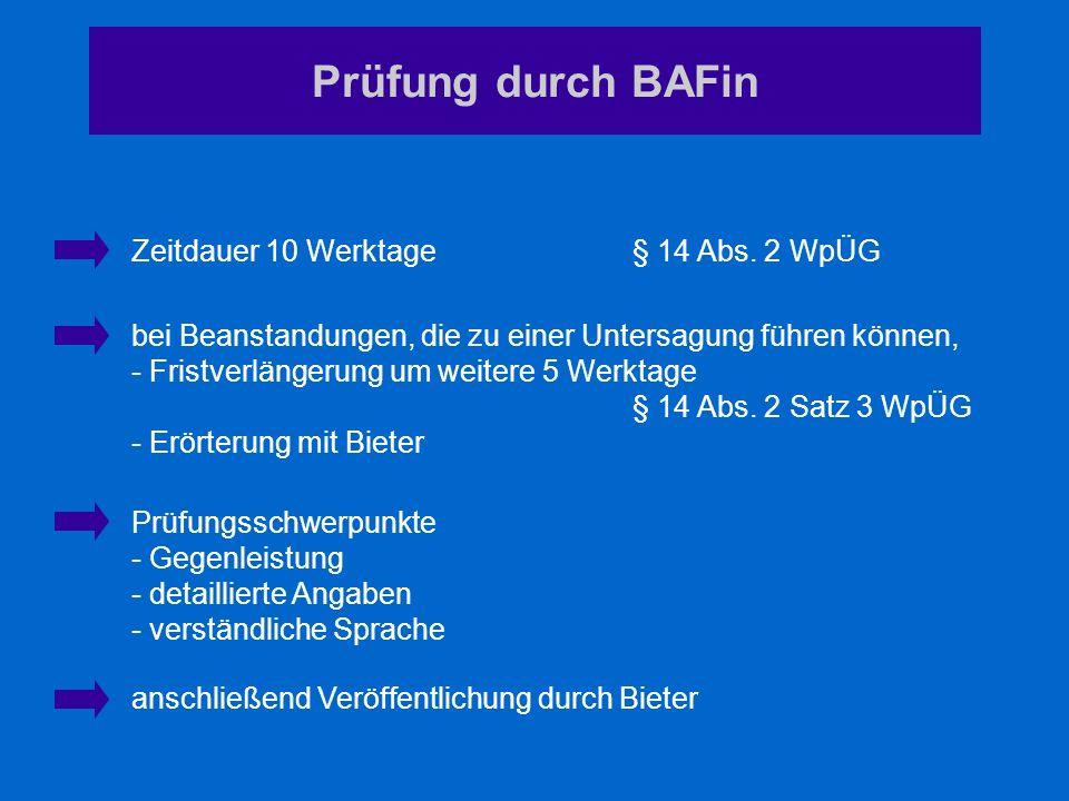 Prüfung durch BAFin Zeitdauer 10 Werktage § 14 Abs. 2 WpÜG bei Beanstandungen, die zu einer Untersagung führen können, - Fristverlängerung um weitere