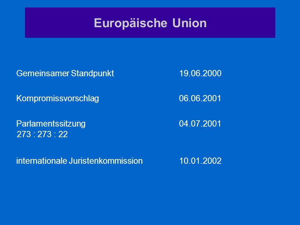 internationale Juristenkommission 10.01.2002 Parlamentssitzung04.07.2001 Kompromissvorschlag06.06.2001 Gemeinsamer Standpunkt19.06.2000 Europäische Un