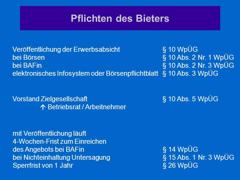 Pflichten des Bieters Veröffentlichung der Erwerbsabsicht§ 10 WpÜG bei Börsen§ 10 Abs. 2 Nr. 1 WpÜG bei BAFin§ 10 Abs. 2 Nr. 3 WpÜG elektronisches Inf