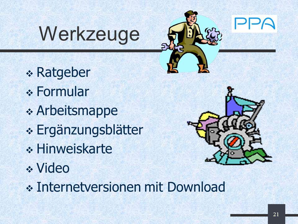21 Werkzeuge Ratgeber Formular Arbeitsmappe Ergänzungsblätter Hinweiskarte Video Internetversionen mit Download