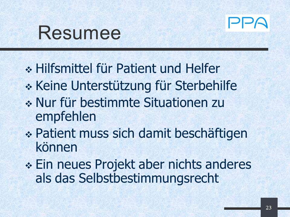 23 Resumee Hilfsmittel für Patient und Helfer Keine Unterstützung für Sterbehilfe Nur für bestimmte Situationen zu empfehlen Patient muss sich damit b