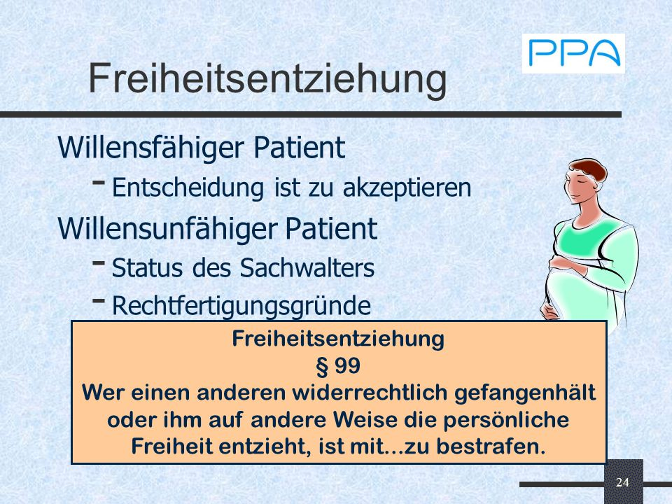 24 Freiheitsentziehung Willensfähiger Patient - Entscheidung ist zu akzeptieren Willensunfähiger Patient - Status des Sachwalters - Rechtfertigungsgrü