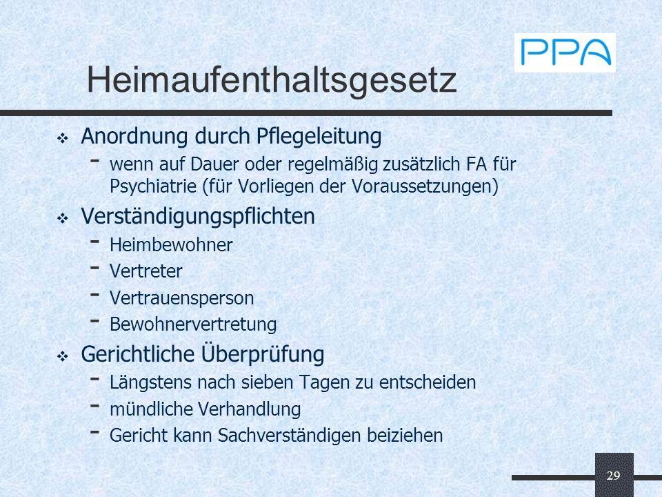 29 Heimaufenthaltsgesetz Anordnung durch Pflegeleitung - wenn auf Dauer oder regelmäßig zusätzlich FA für Psychiatrie (für Vorliegen der Voraussetzung
