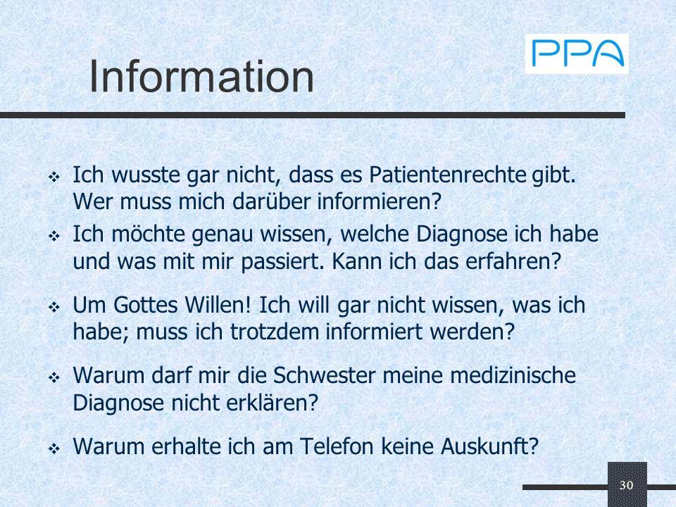 30 Information Ich wusste gar nicht, dass es Patientenrechte gibt. Wer muss mich darüber informieren? Ich möchte genau wissen, welche Diagnose ich hab