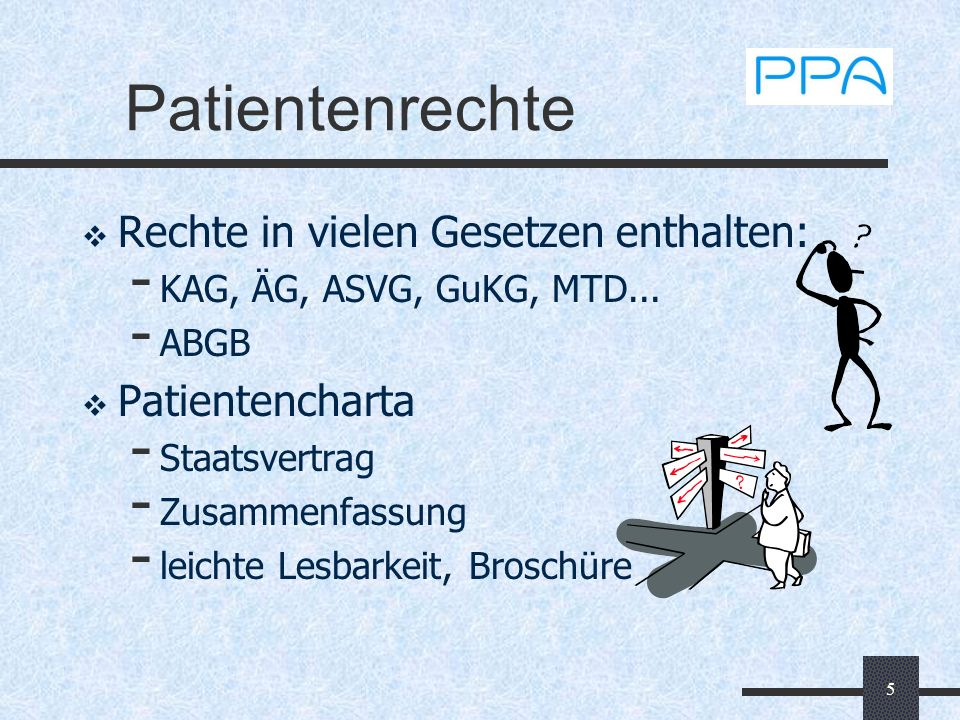 5 Patientenrechte Rechte in vielen Gesetzen enthalten: - KAG, ÄG, ASVG, GuKG, MTD... - ABGB Patientencharta - Staatsvertrag - Zusammenfassung - leicht