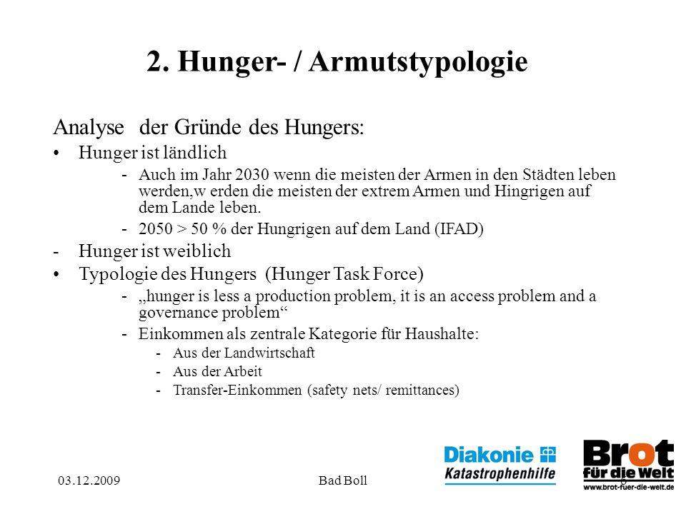 03.12.2009Bad Boll6 2. Hunger- / Armutstypologie Analyse der Gründe des Hungers: Hunger ist ländlich -Auch im Jahr 2030 wenn die meisten der Armen in