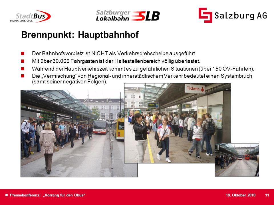 18. Oktober 2010 Pressekonferenz: Vorrang für den Obus11 Brennpunkt: Hauptbahnhof Der Bahnhofsvorplatz ist NICHT als Verkehrsdrehscheibe ausgeführt. M
