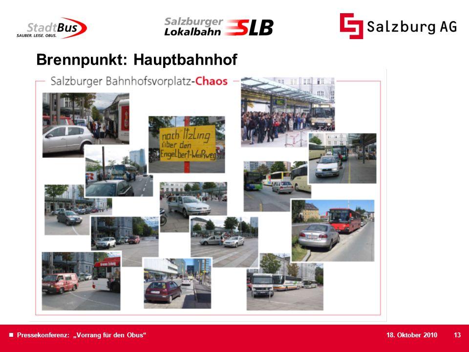 18. Oktober 2010 Pressekonferenz: Vorrang für den Obus13 Brennpunkt: Hauptbahnhof