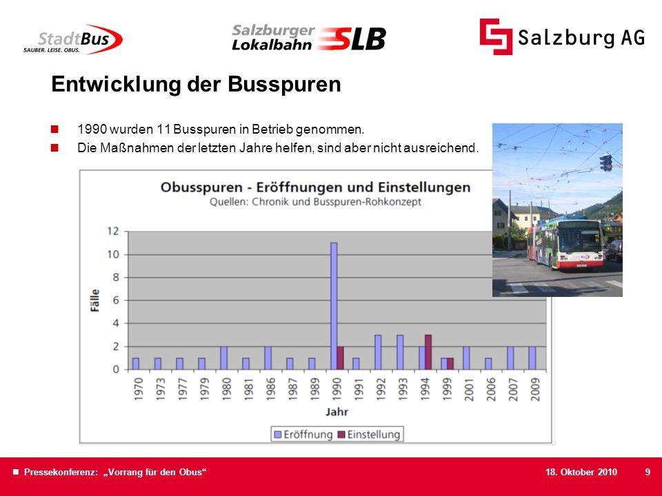 18. Oktober 2010 Pressekonferenz: Vorrang für den Obus9 Entwicklung der Busspuren 1990 wurden 11 Busspuren in Betrieb genommen. Die Maßnahmen der letz