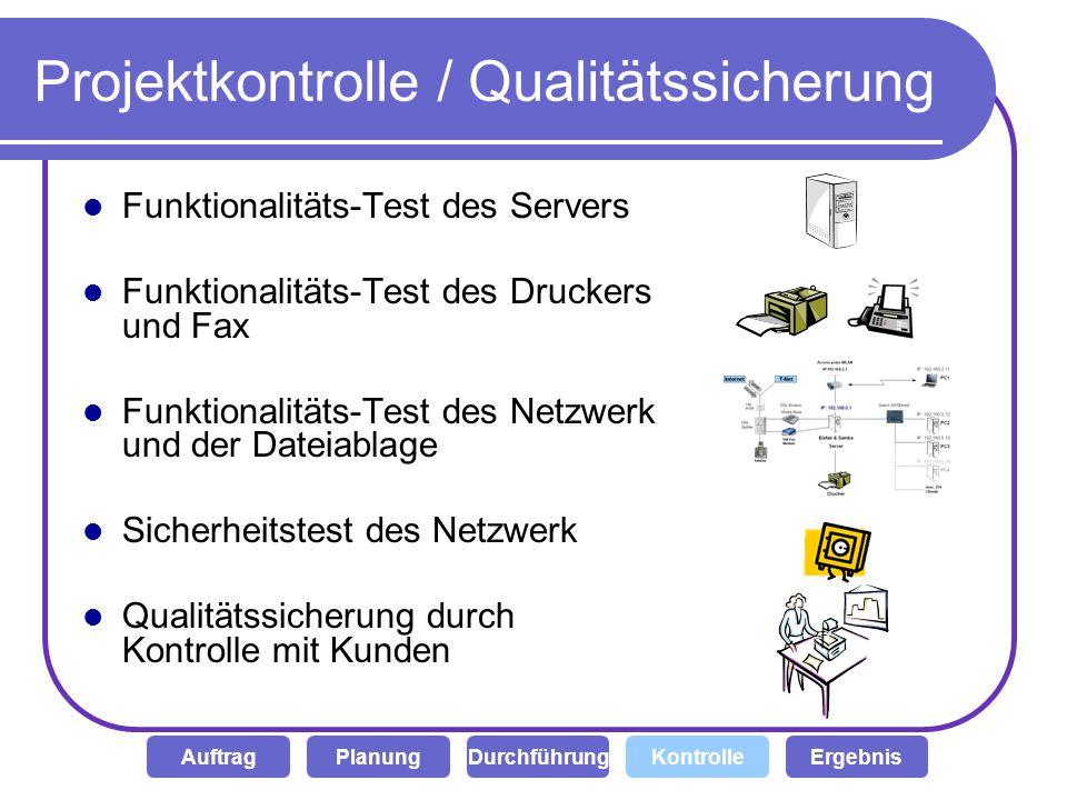 Projektkontrolle / Qualitätssicherung Funktionalitäts-Test des Servers Funktionalitäts-Test des Druckers und Fax Funktionalitäts-Test des Netzwerk und