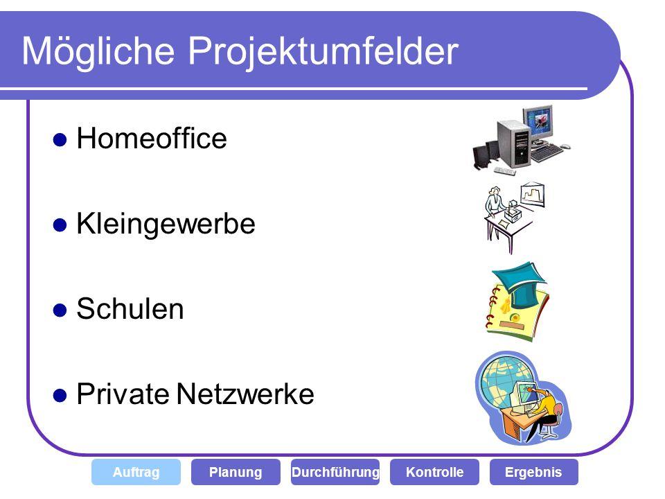 Mögliche Projektumfelder Homeoffice Kleingewerbe Schulen Private Netzwerke DurchführungKontrolleAuftragPlanungErgebnis