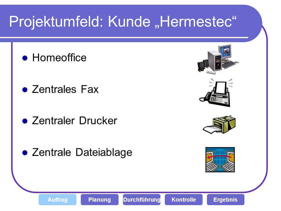 Hauptaufgaben (Was der Kunde Hermestec beauftragt hat) Ein zentraler Drucker, von jeden Client aus benutzbar Ein zentrales Fax, von jeden PC aus benutzbar Dateiablage im Intranet für Dokumente und weitere Daten Zentrale Kontrolle durch einen Administrator DurchführungKontrolleAuftragPlanungErgebnis