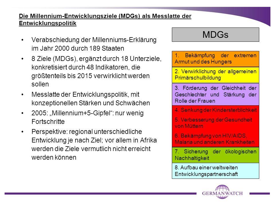 Die Millennium-Entwicklungsziele (MDGs) als Messlatte der Entwicklungspolitik Verabschiedung der Millenniums-Erklärung im Jahr 2000 durch 189 Staaten