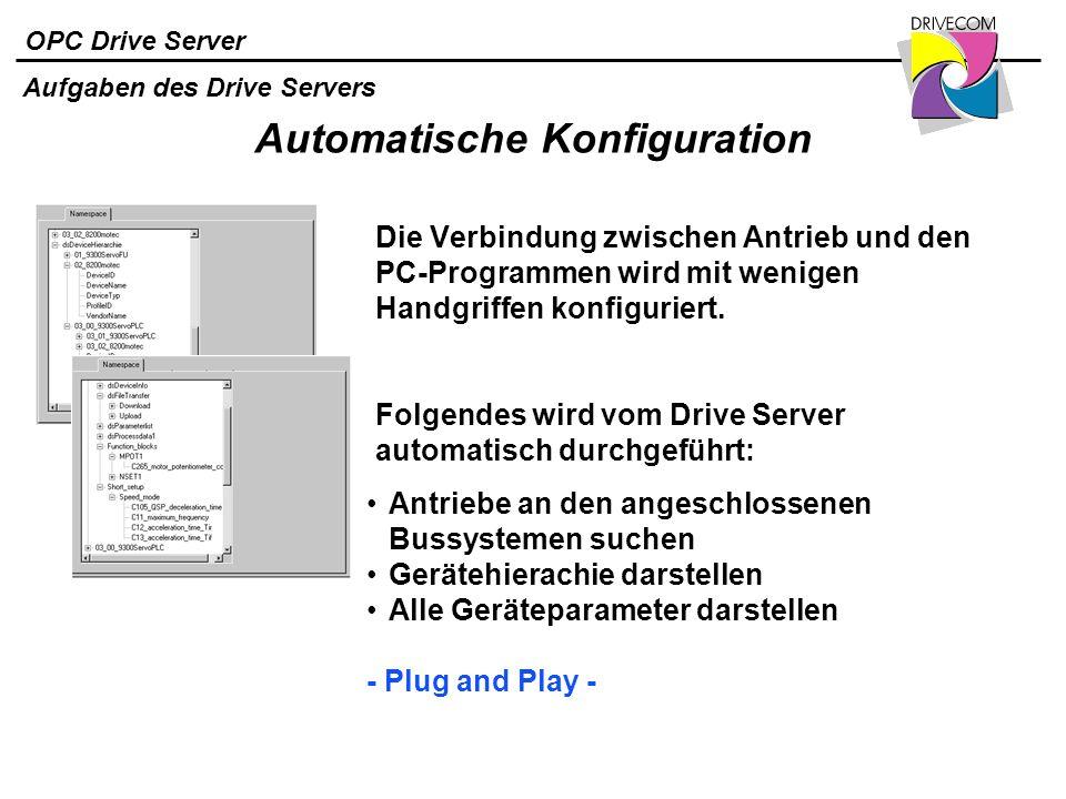OPC Drive Server Automatische Konfiguration Die Verbindung zwischen Antrieb und den PC-Programmen wird mit wenigen Handgriffen konfiguriert. Antriebe
