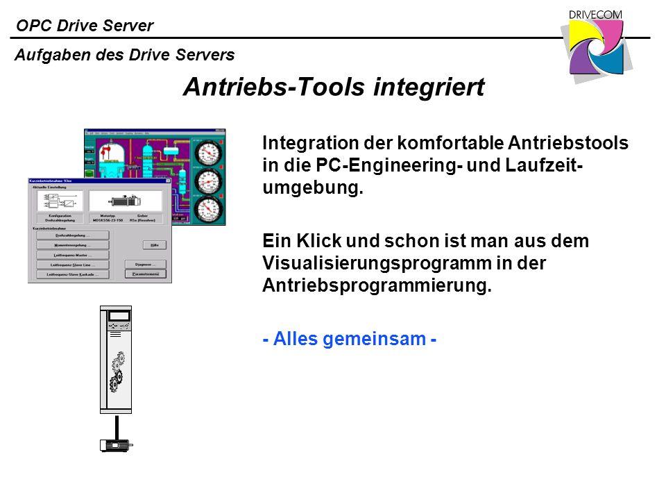 OPC Drive Server Antriebs-Tools integriert Integration der komfortable Antriebstools in die PC-Engineering- und Laufzeit- umgebung. Ein Klick und scho