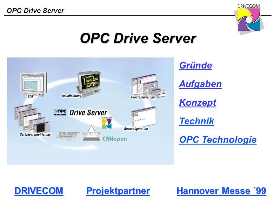 OPC Drive Server OPC Drive Server Hannover Messe ´99 Hannover Messe ´99 DRIVECOM Projektpartner Gründe Aufgaben Konzept Technik OPC Technologie