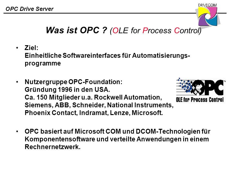 OPC Drive Server Was ist OPC ? (OLE for Process Control) Ziel: Einheitliche Softwareinterfaces für Automatisierungs- programme Nutzergruppe OPC-Founda