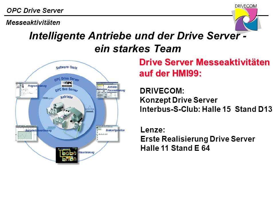 OPC Drive Server Intelligente Antriebe und der Drive Server - ein starkes Team Messeaktivitäten Drive Server Messeaktivitäten auf der HMI99: DRIVECOM: