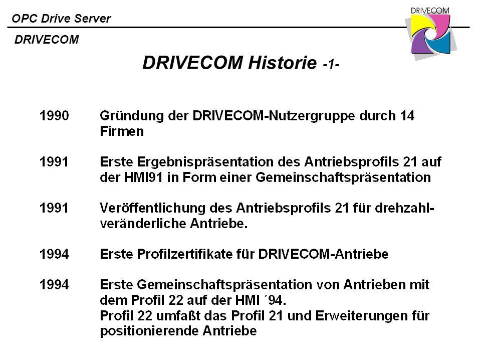 OPC Drive Server DRIVECOM Historie -1- DRIVECOM