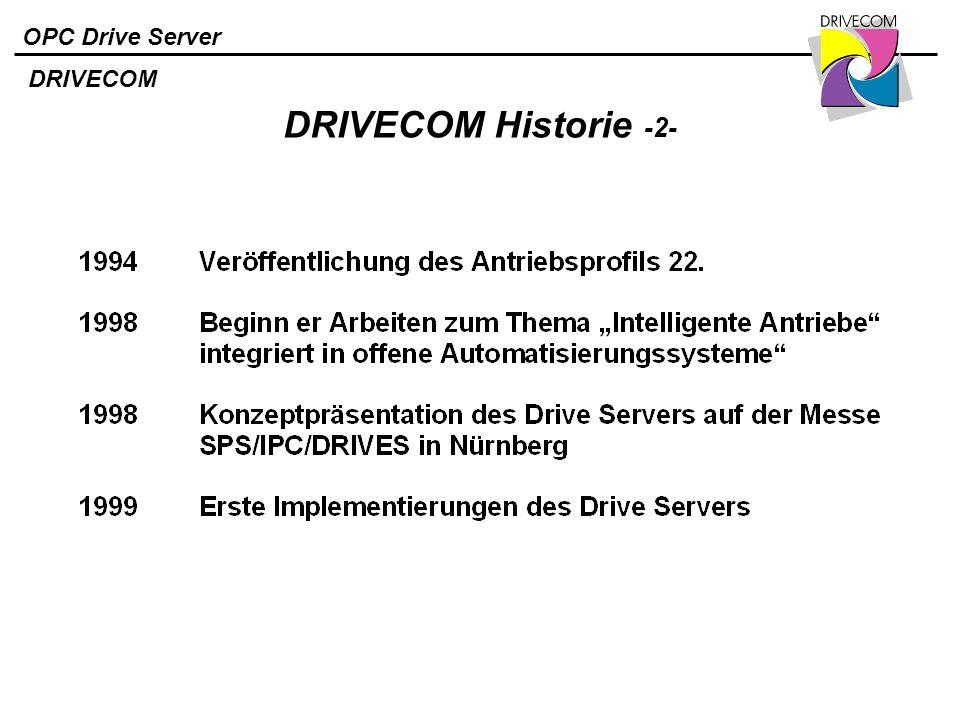 OPC Drive Server DRIVECOM Historie -2- DRIVECOM