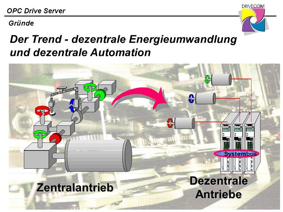 OPC Drive Server Zentralantrieb Systembus Der Trend - dezentrale Energieumwandlung und dezentrale Automation Dezentrale Antriebe Gründe