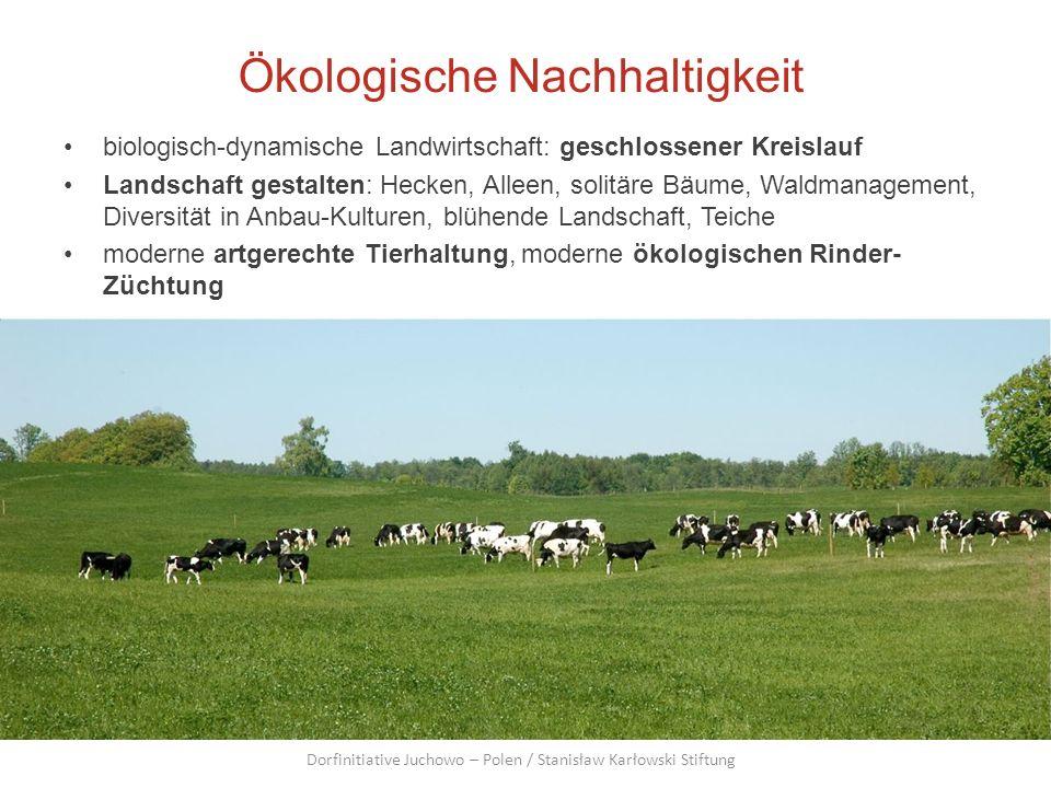 Ökologische Nachhaltigkeit biologisch-dynamische Landwirtschaft: geschlossener Kreislauf Landschaft gestalten: Hecken, Alleen, solitäre Bäume, Waldman