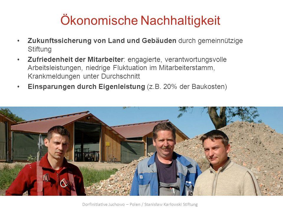 Ökonomische Nachhaltigkeit Zukunftssicherung von Land und Gebäuden durch gemeinnützige Stiftung Zufriedenheit der Mitarbeiter: engagierte, verantwortu