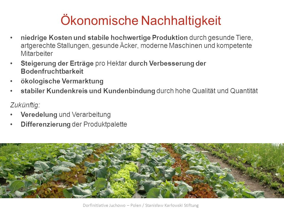 Ökonomische Nachhaltigkeit niedrige Kosten und stabile hochwertige Produktion durch gesunde Tiere, artgerechte Stallungen, gesunde Äcker, moderne Masc
