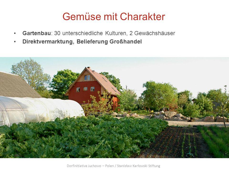 Gemüse mit Charakter Gartenbau: 30 unterschiedliche Kulturen, 2 Gewächshäuser Direktvermarktung, Belieferung Großhandel Dorfinitiative Juchowo – Polen