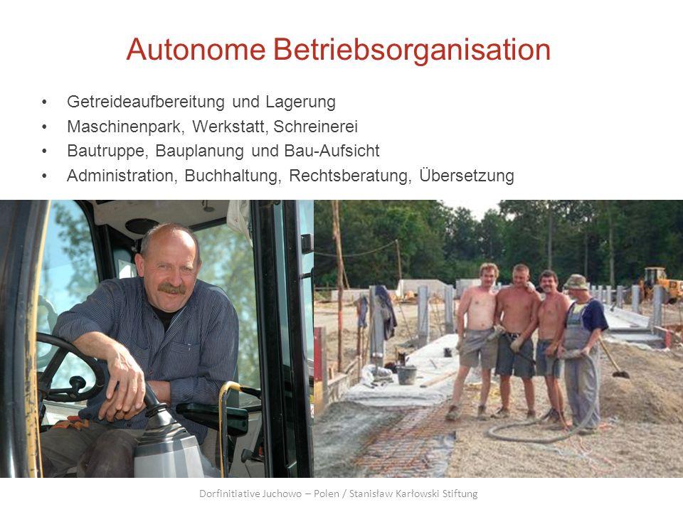 Autonome Betriebsorganisation Getreideaufbereitung und Lagerung Maschinenpark, Werkstatt, Schreinerei Bautruppe, Bauplanung und Bau-Aufsicht Administr