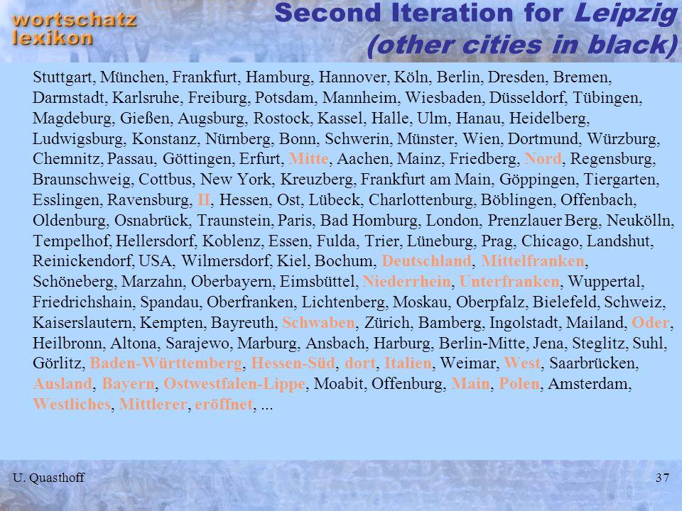 U. Quasthoff37 Second Iteration for Leipzig (other cities in black) Stuttgart, München, Frankfurt, Hamburg, Hannover, Köln, Berlin, Dresden, Bremen, D