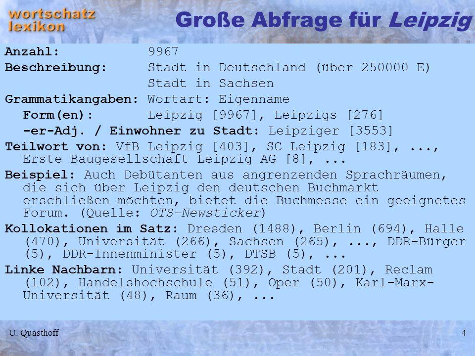 U. Quasthoff4 Große Abfrage für Leipzig Anzahl: 9967 Beschreibung: Stadt in Deutschland (über 250000 E) Stadt in Sachsen Grammatikangaben: Wortart: Ei